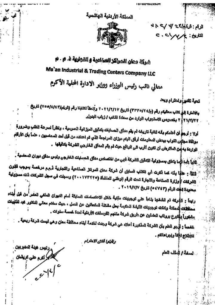 النائب البدول تفتح ملف شركة بلدية معان المدعومة من الفوسفات