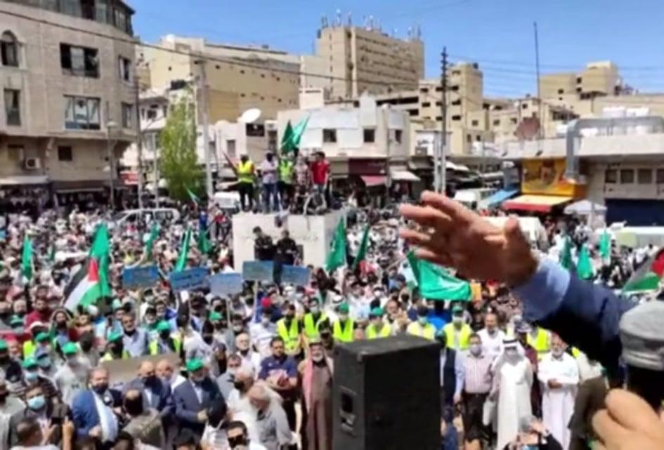 آلاف الأردنيين يعتصمون في وسط البلد تضامنا مع الشيخ جراح.. ويطالبون بترجمة لاءات الملك - صور